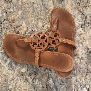 Tory Burch brown leather flip-flops